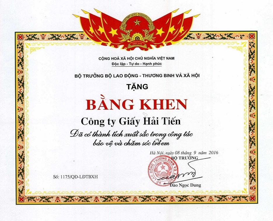 Công ty Giấy Hải Tiến lần thứ ba nhận bằng khen của Bộ Lao động Thương Binh Xã Hội.